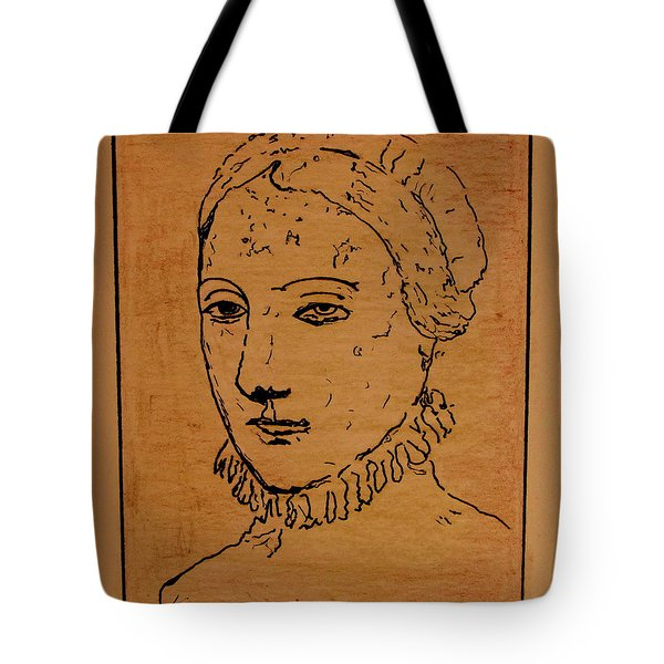 Tote Bag featuring the drawing Portrait Of Anne by Bill OConnor