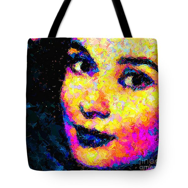Tote Bag featuring the painting Portrait Of Audrey Hepburn by Zedi