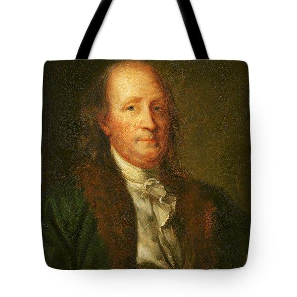 Portrait Of Benjamin Franklin Tote Bag by George Peter Alexander Healy