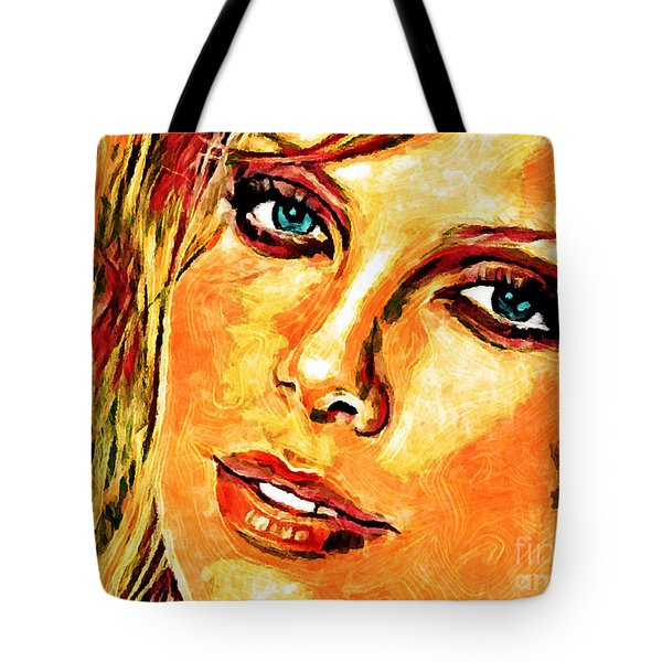 Portrait Of Charlize Theron Tote Bag by Zedi