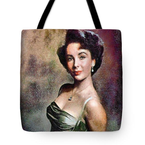 Portrait Of Elizabeth Taylor Tote Bag by Charmaine Zoe