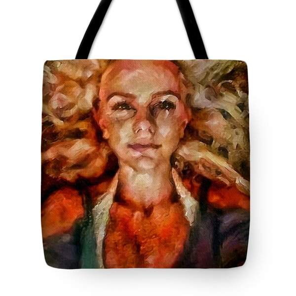 Portrait Of Female With Hair Billowing Everywhere In Radiant Unsmiling Sharp Features Golden Warm Colors And Upturned Nose Curls And Aliens Of The Departure Tote Bag by MendyZ