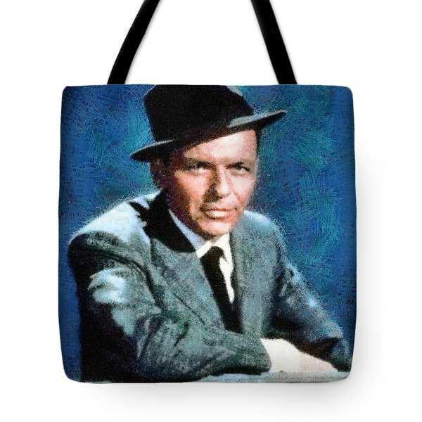 Tote Bag featuring the digital art Portrait Of Frank Sinatra by Charmaine Zoe