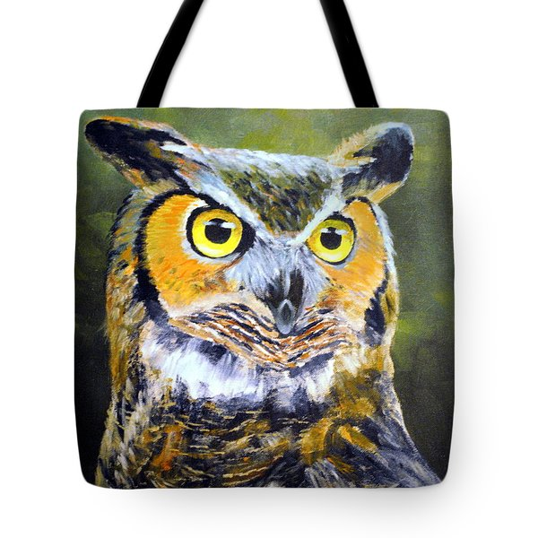 Portrait Of Great Horned Owl Tote Bag by Dennis Clark