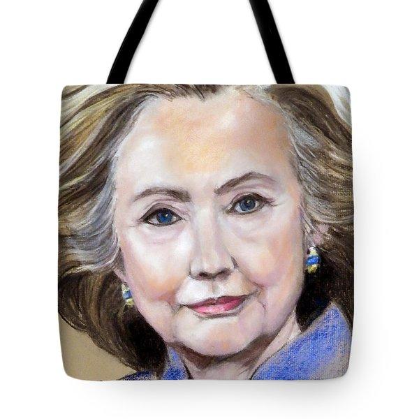 Pastel Portrait Of Hillary Clinton Tote Bag by Greta Corens