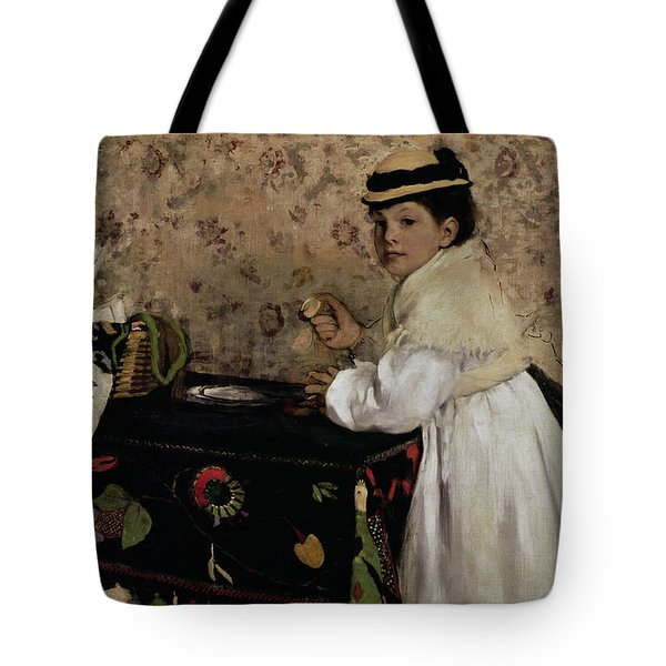 Portrait Of Hortense Valpincon As A Child Tote Bag by Edgar Degas