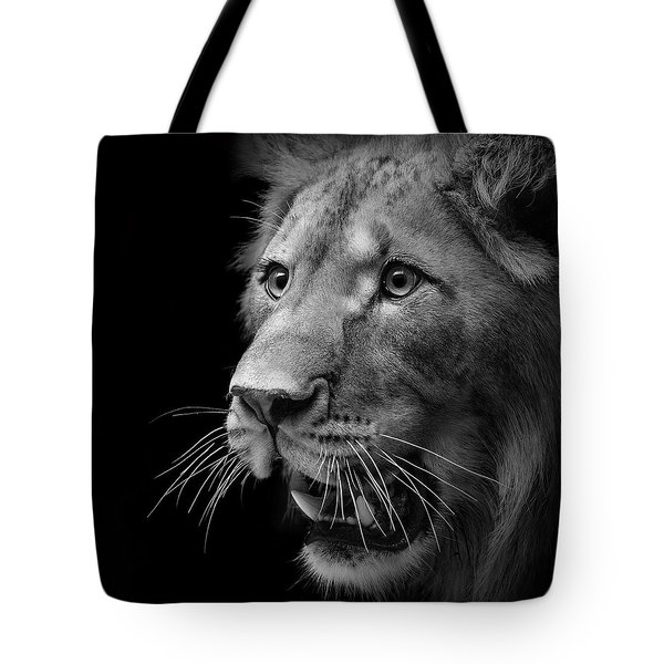 Portrait Of Lion In Black And White II Tote Bag