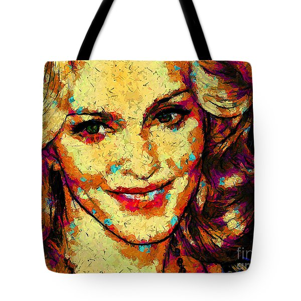 Tote Bag featuring the digital art Portrait Of Madonna by Zedi