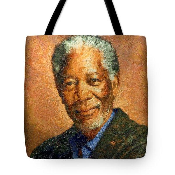 Portrait Of Morgan Freeman Tote Bag