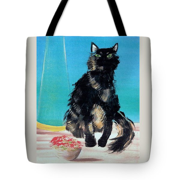 Tote Bag featuring the painting Portrait Of Muffin by Denise Fulmer