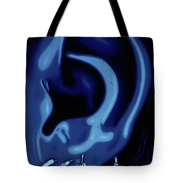 Portrait Of My Ear In Blue Tote Bag