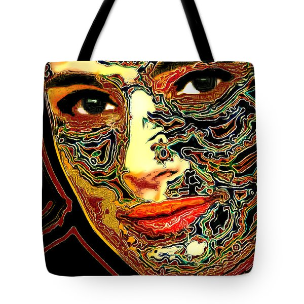 Portrait Of Natalie Portman Tote Bag by Zedi