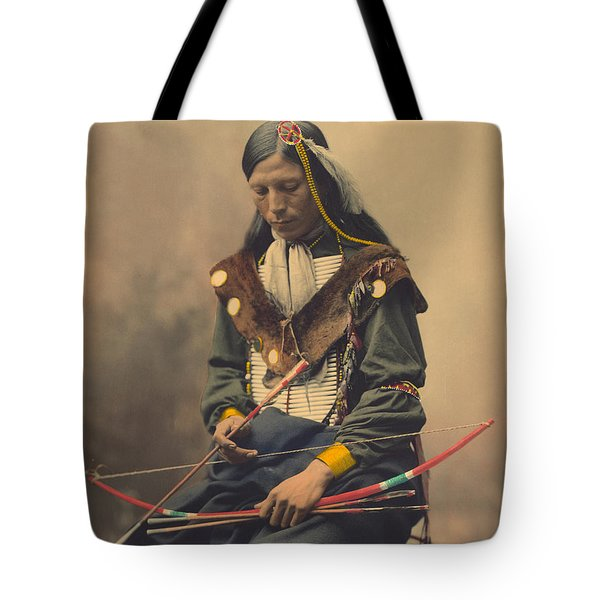 Portrait Of Oglala Sioux Council Chief Bone Necklace Tote Bag