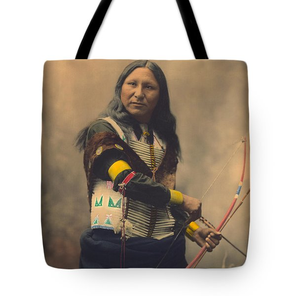 Portrait Of Oglala Sioux Shout Tote Bag