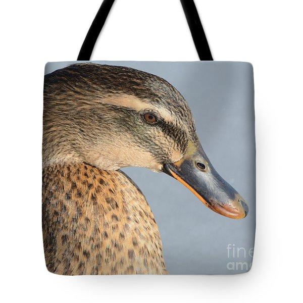Portrait Of Rouen-mallard Mixed Breed Duck Hen Tote Bag by Merrimon Crawford