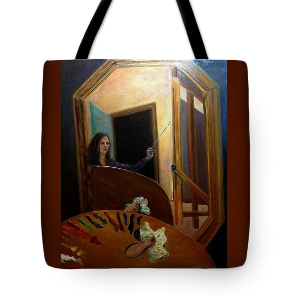 Tote Bag featuring the painting Portrait Of The Artist by J Reynolds Dail