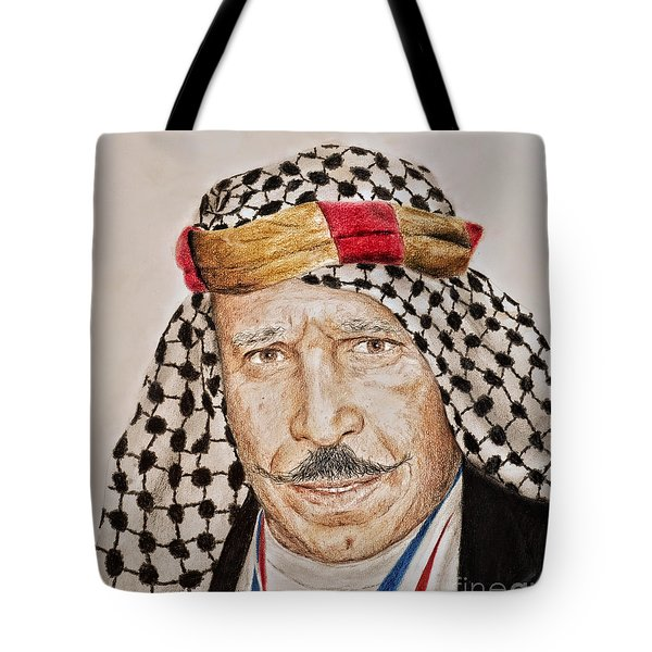 Portrait Of The Pro Wrestler Known As The Iron Sheik Tote Bag