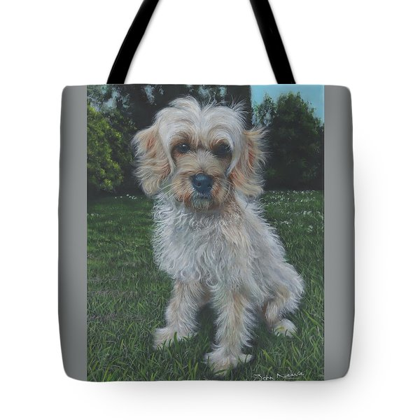 Tote Bag featuring the painting Portrait Of Toffee by John Neeve