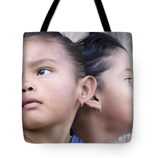 Tote Bag featuring the photograph Portrait Of Two Panama Girls by Heiko Koehrer-Wagner