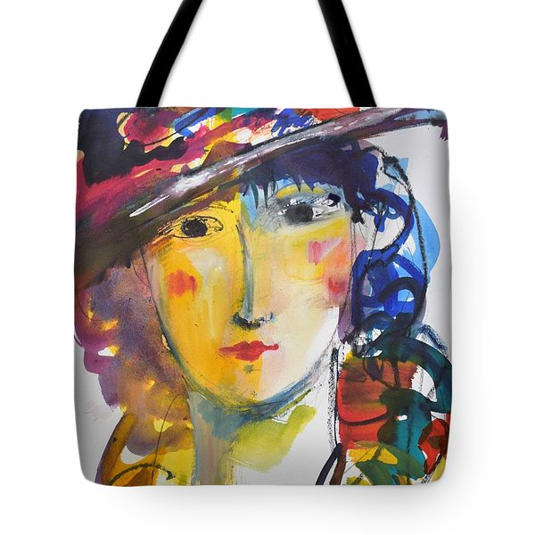 Portrait Of Woman With Flower Hat Tote Bag