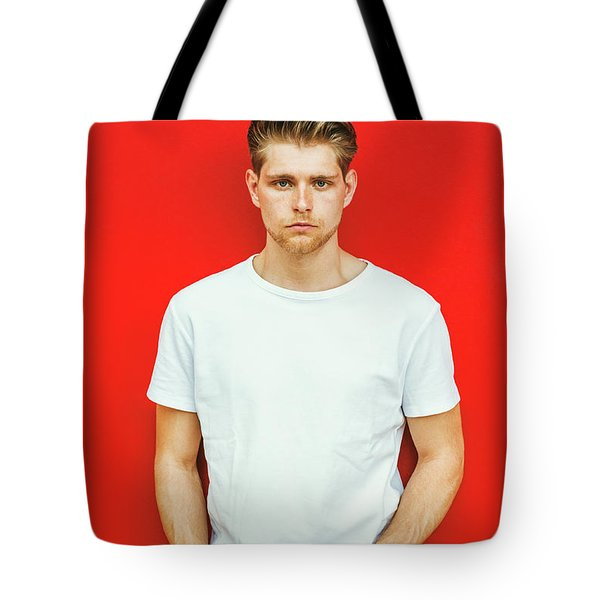 Portrait Of Young Handsome Man Tote Bag