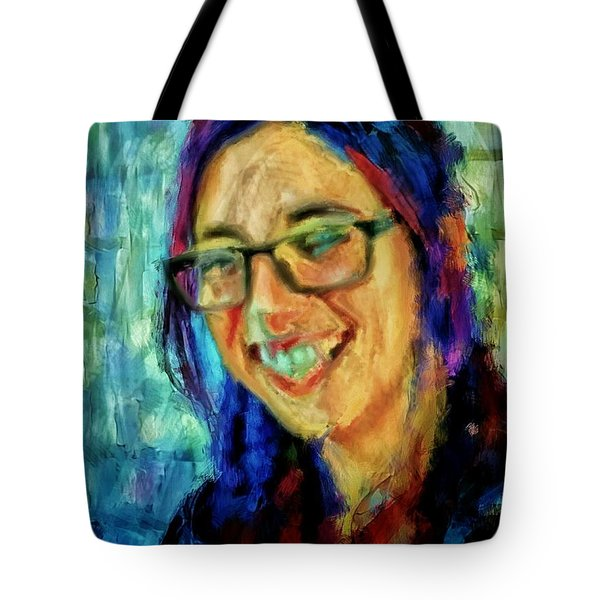 Portrait Painting In Acrylic Paint Of A Young Fresh Girl With Colorful Hair In A Library With Books  Tote Bag by MendyZ