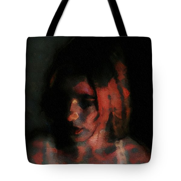Portrait Painting Of Girl In Red Gray Black With Wistful Thoughts Of Fleeting Memories Tote Bag
