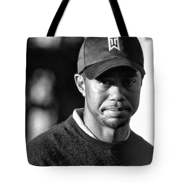 Portrait  Tiger Woods Black White  Tote Bag