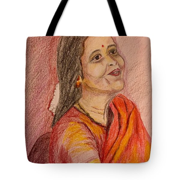 Portrait With Colorpencils Tote Bag