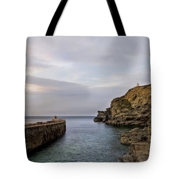 Portreath Harbour, Cornwall Uk Tote Bag by Shirley Mitchell