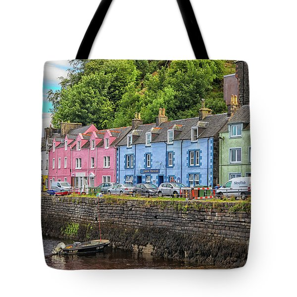 Portree Town On Skye, Scotland Tote Bag