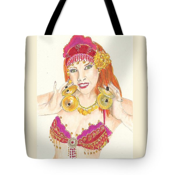 Portrait Of The Artist Playing Zills -- Belly Dancer Self-portrait Tote Bag