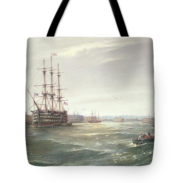 Portsmouth Harbour With Hms Victory Tote Bag by Robert Ernest Roe