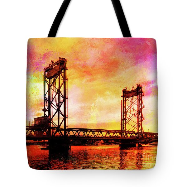 Portsmouth Memorial Bridge Abstract At Sunset Tote Bag