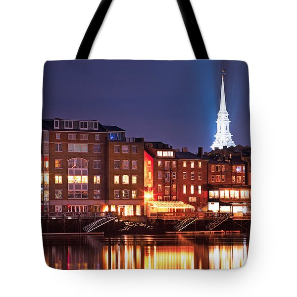Portsmouth Waterfront At Night Tote Bag