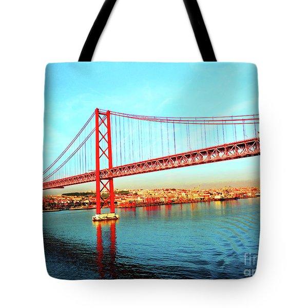 Portugal Lisbon Approaching The 25 De Abril River Bridge Tote Bag