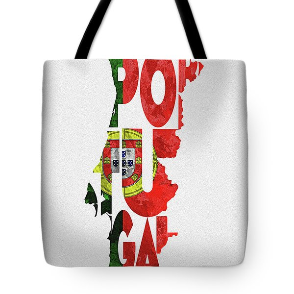 Portugal Typographic Map Flag Tote Bag