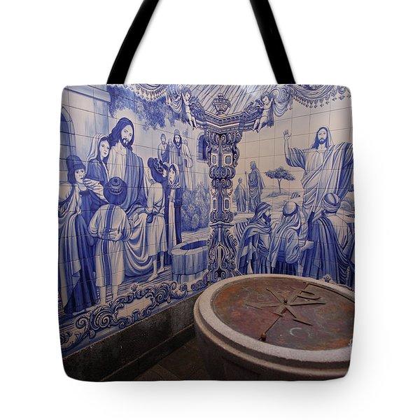 Portuguese Azulejo Mural Tote Bag by Gaspar Avila