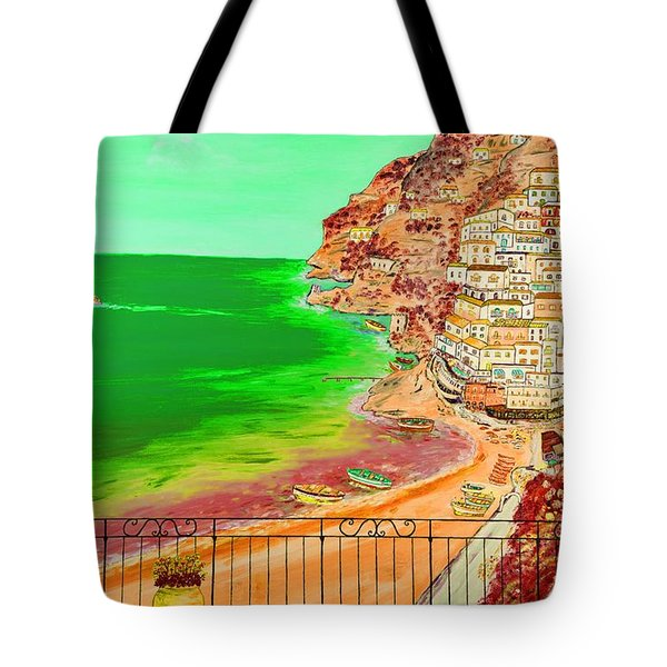 Tote Bag featuring the painting Positano Bay by Loredana Messina