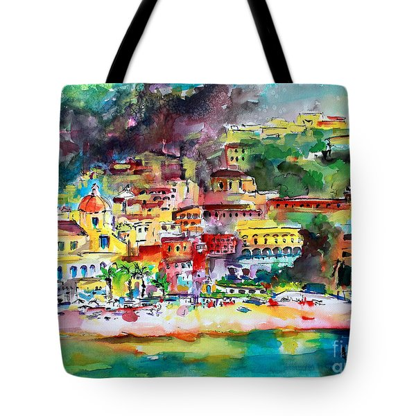 Amalfi Coast Positano Summer Fun Watercolor Painting Tote Bag