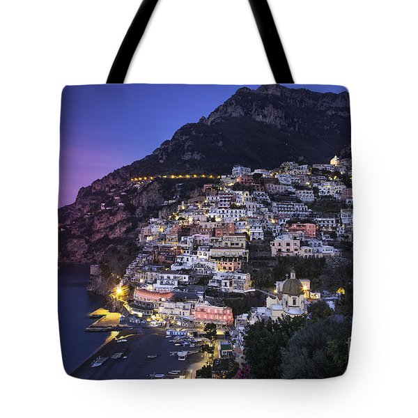 Tote Bag featuring the photograph Positano Twilight by Brian Jannsen