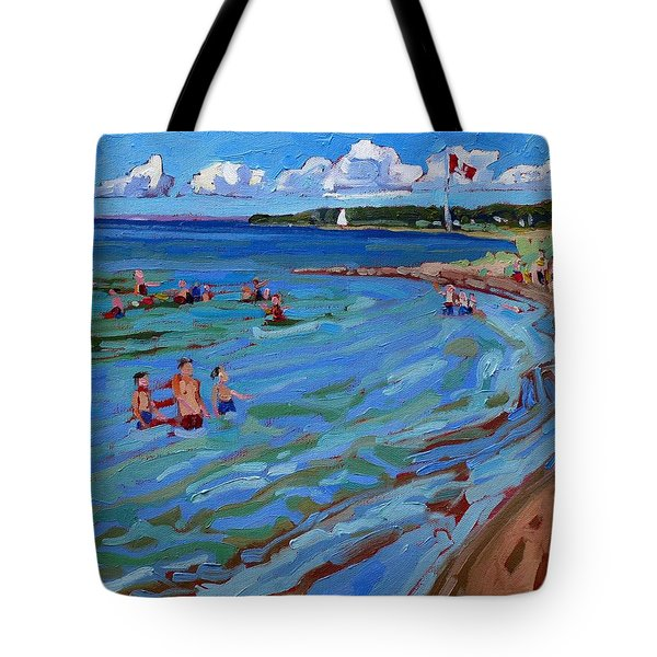 Positively Buoyant Beach People Tote Bag by Phil Chadwick