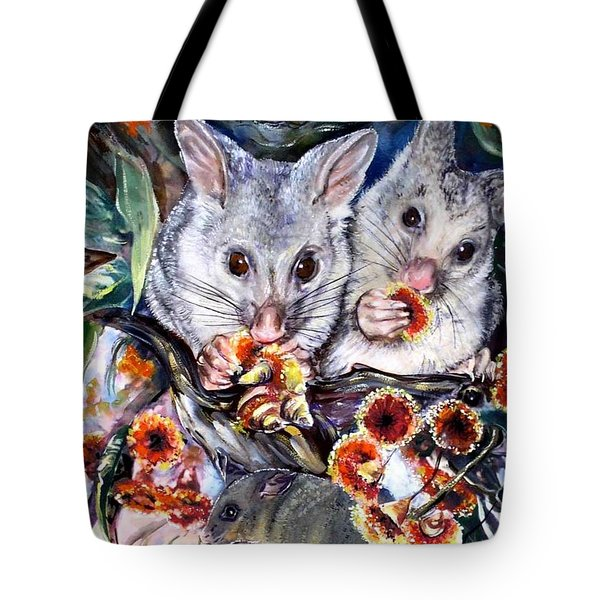 Possum Family Tote Bag