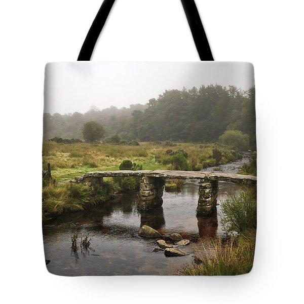 Postbridge Clapper Bridge In Dartmoor  Tote Bag by Shirley Mitchell