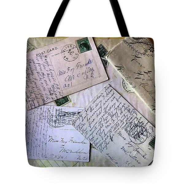 Tote Bag featuring the digital art Postcards And Proposals by Gina Harrison