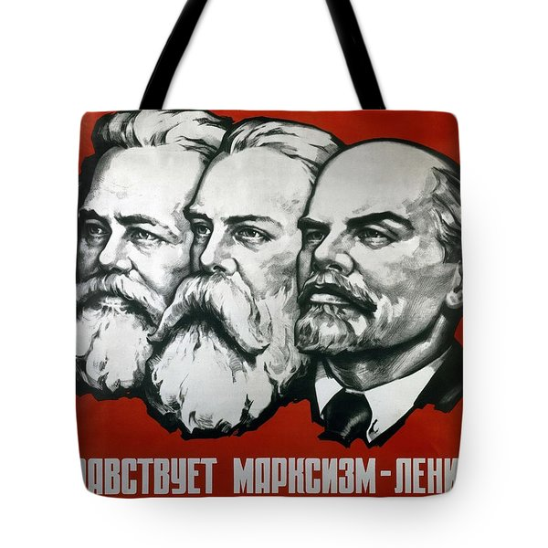 Poster Depicting Karl Marx Friedrich Engels And Lenin Tote Bag by Unknown