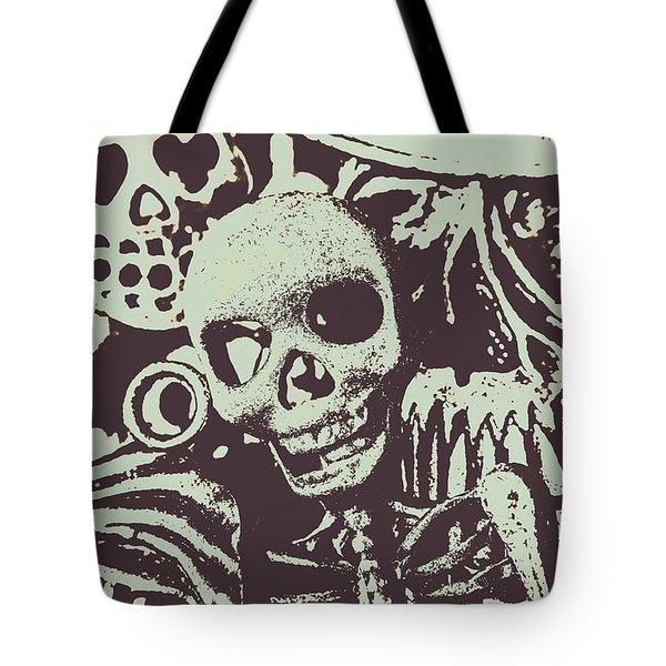 Posterized Skull Art Tote Bag