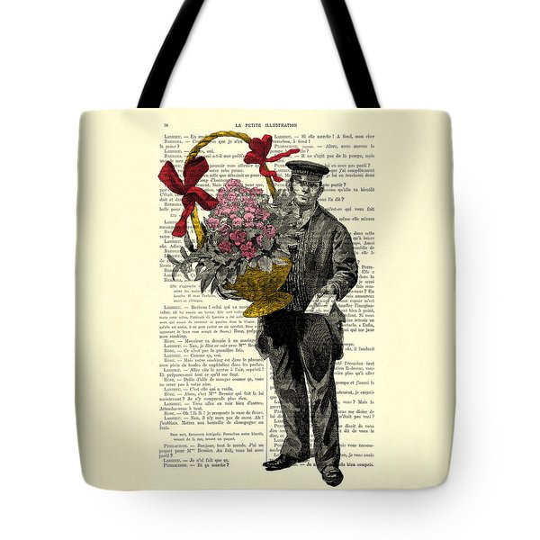 Postman Delivering Bouquet Of Flowers Tote Bag