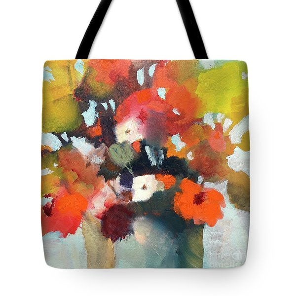 Tote Bag featuring the painting Pot Of Flowers by Michelle Abrams