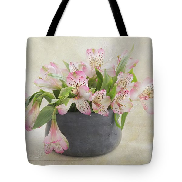 Tote Bag featuring the photograph Pot Of Pink Alstroemeria by Kim Hojnacki